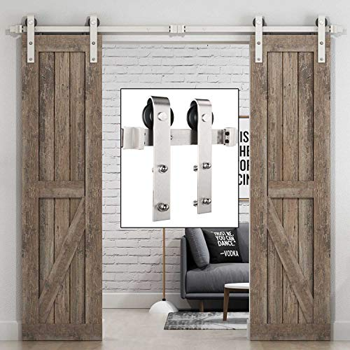 EaseLife 8 FT Heavy Duty Brushed Nickle Double Door Sliding Barn Door Hardware Track Kit,Modern,Slide Smoothly Quietly,One Piece 8FT Track,Fit Double 24 Wide Door (8FT Track Double Door Kit)
