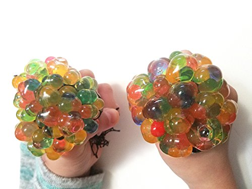 Price comparison product image 2X Large Anti Stress Relief (6 CM) Jelly Water Beads Rainbow Squishy Grape Ball Autism Mood Squeeze Kid Toy Gift …