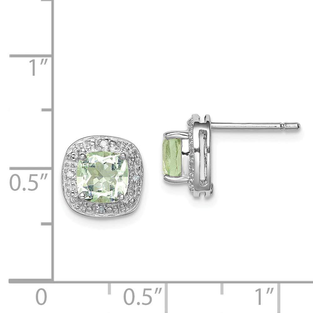 FB Jewels Solid Sterling Silver Rhodium Green Quartz Diamond Earrings