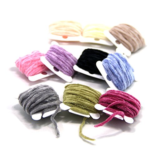 SAMSFX Fly Tying Body Materials Rayon Chenille Yarn 2mm Small 10 Random Colors Assorted 30M