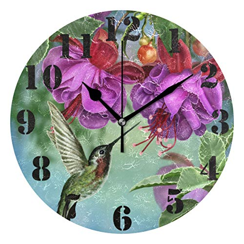 (ZZKKO Tropical Floral Hummingbird Wall Clock, Silent Non Ticking Battery Operated Easy to Read Decorative Wall Clock for Kitchen Bedroom Bathroom Living Room Classroom)