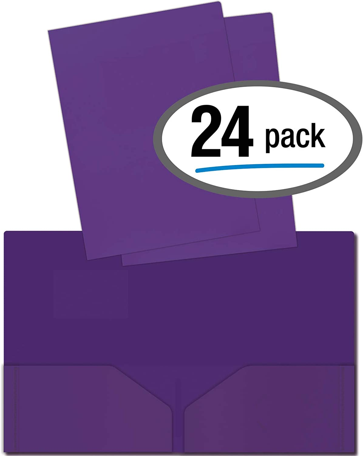 Heavyweight Plastic 2 Pocket Portfolio Folder, Letter Size Poly Folders by Better Office Products, 24 Pack (Purple)