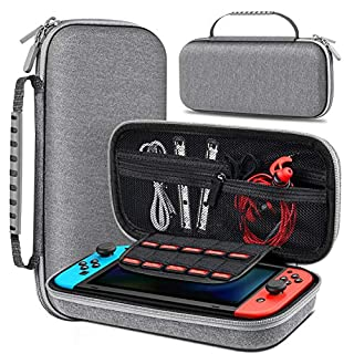 Carrying Case for Nintendo Switch, Portable Switch Case Work with Nintendo Switch Game Slots, Grey Switch Carrying Case for Nintendo Switch Console, Switch Travel Case Hard Shell with Handle, Zipper