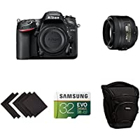 Nikon D7200 DX-format DSLR Body (Black) Portrait and Prime Photography Lens Kit w/ AmazonBasics Accessories