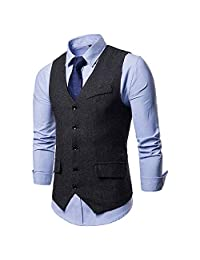 Elogoog Mens coat Men's V-Neck Dress Vest Slim Fit Stylish Sleeveless Waistcoat Casual Suit Jackets
