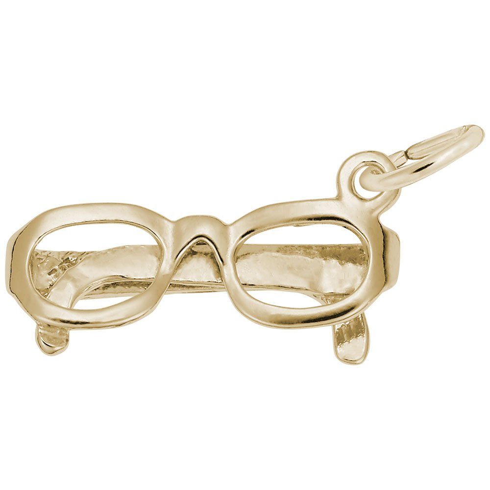 Glasses Charm In 14k Yellow Gold, Charms for Bracelets and Necklaces