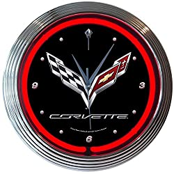 Corvette GM C7 Genuine Electric Neon 15 Inch Wall Clock Glass Face Chrome Finish USA Warranty