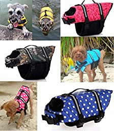 Kuoser Ripstop Dog Life Jacket with Handle Adjustable Reflective Pet Puppy Saver Swimming Water Life Vest Coat Flotation float Aid Buoyancy for Small and Large Dogs,Pink dot S