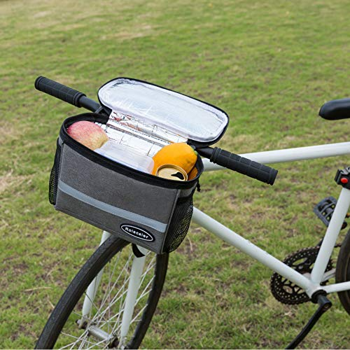 ROLSCALER Bicycle Basket Handlebar Cooler Bag with TPU Touch Screen and Reflective Stripe for Mountain Bike Outdoor Activity Cycling Pack Accessories 3.5L by ROLSCALER (Image #1)