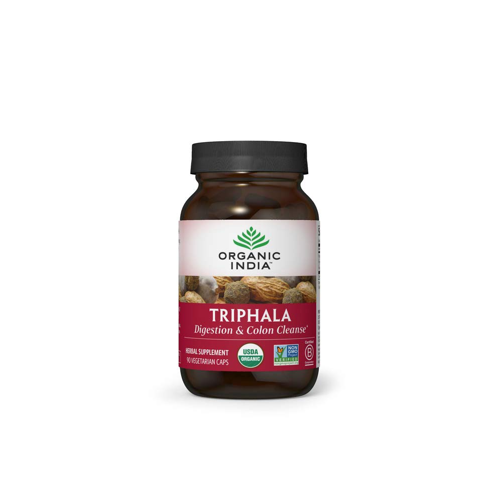 Organic India Triphala Herbal Supplement - Digestion & Colon Support, Immune System Support, Adaptogen, Nutrient Dense, Vegan, Gluten-Free, USDA Certified Organic, Non-GMO - 90 Capsules