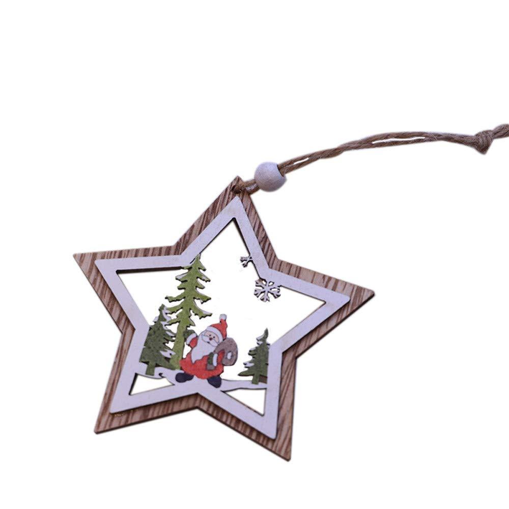 Hide on bush Christmas 3D Ornaments, Colorful Merry Christmas 1PC New Christmas Tree Ornaments Hanging Xmas Tree Party Decor 3D Wooden Pendant (A)