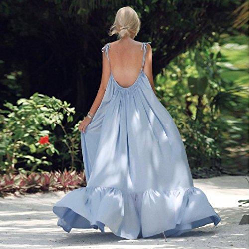 TiTCool Womens Maxi Dresses Sleeveless Backless Big Ruffle Hem Long Dress for Evening Party Beach (XL, Blue) by TiTCool (Image #1)