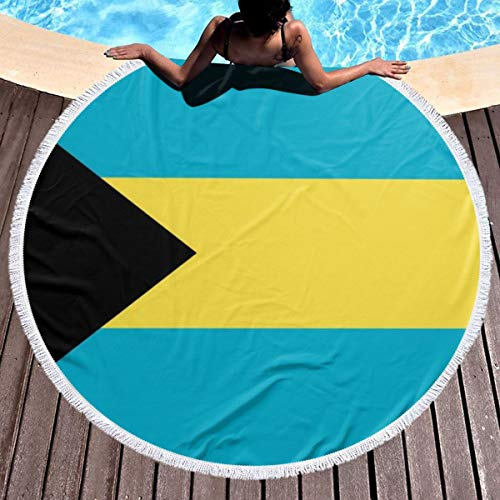 - Trikahan Beach Towel Flag of Bahamas Towels with Tassel Microfiber Oversized Round Picnic Mat Tapestry Table Cover Blanket