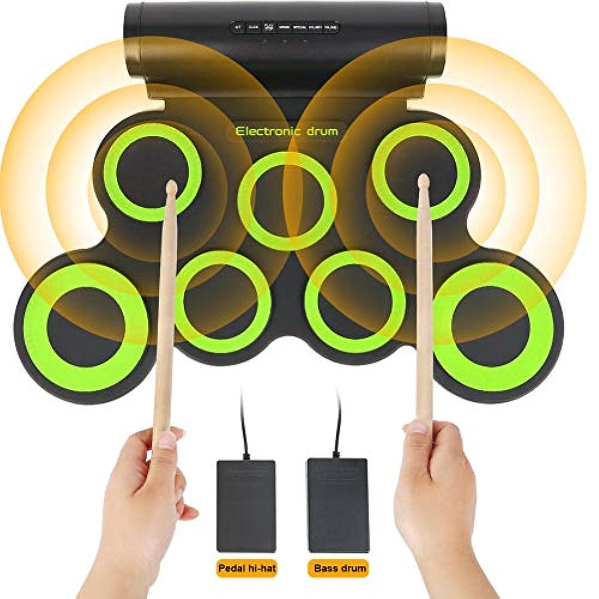 [해외] 전자 드럼 세트,아이,소년,소녀,유아,포터블 롤업7연습 패드,스틱과 페달 부착 전동 드럼 키트를 위한 교육 초기 개발 장난감
