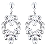ACCESSORIESFOREVER Women Bridal Wedding Jewelry Crystal Rhinestone Beautiful Design Earrings E1023 Silver