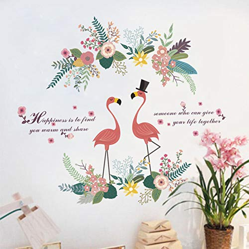 Flamingo Wall Stickers Decor,Spring Colourful Flowers