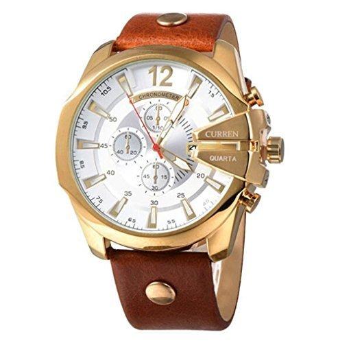 Wrist Strap Original (CURREN Original Men's Sports Waterproof Calendar Leather Strap Wrist Watch Good Quality 8176 Gold Brown)