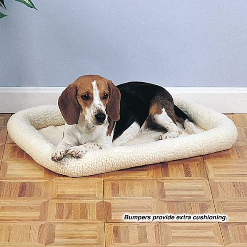 rate Beds  - Comfortable Bumper-Style Beds for Dogs and Cats, Medium, Natural Beige ()