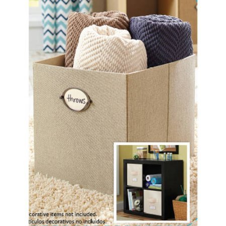 Better Homes and Gardens Collapsible Fabric Storage Cube, Line Ivory