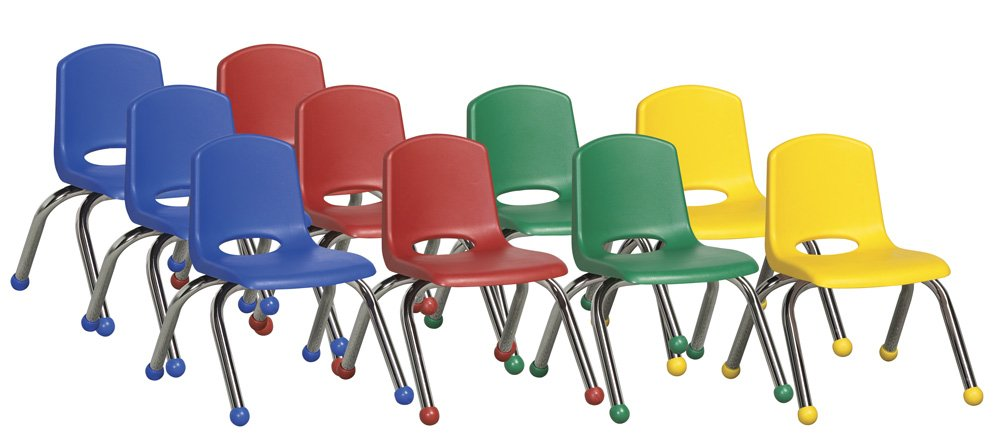 ECR4Kids School Stack Chair with Chrome Legs/ Ball Glides, 10'', 6-Pack, Assorted Colors