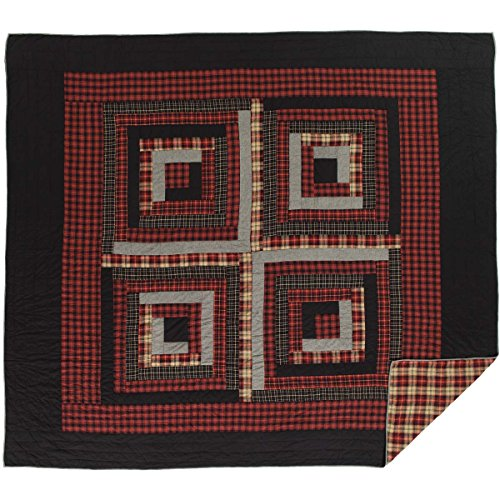 VHC Brands Rustic & Lodge Bedding-Cumberland Red Quilt, Luxury King ()
