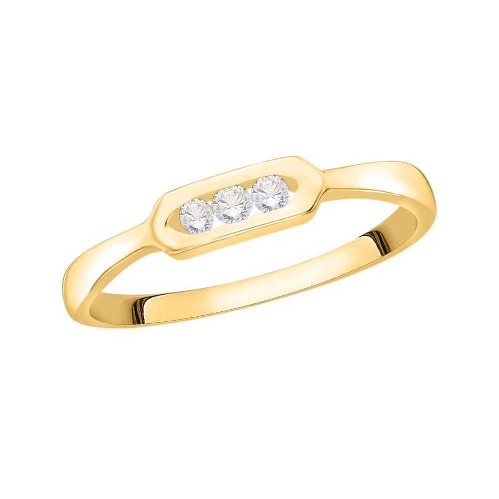 Size-4.25 3 Diamond Promise Ring in 10K Yellow Gold 1//10 cttw, G-H,I2-I3