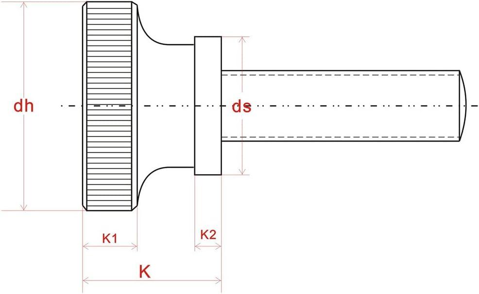 Screw M2 Knurled Screws Thumb Screws M2x3 4 5 6 8mm Knurled Head Thumb Screws Shoulder Type Stainless Steel Metric Pack of 20 Length: M2 x 8mm