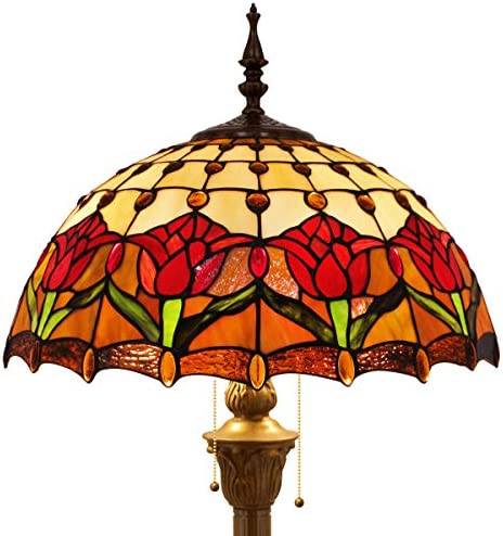 Tiffany Style Floor Standing Lamp 64 Inch Tall Stained Glass Tulip Flower Design Shade 2E26 Antique Base for Bedroom Living Room Reading Lighting Table S030 WERFACTORY