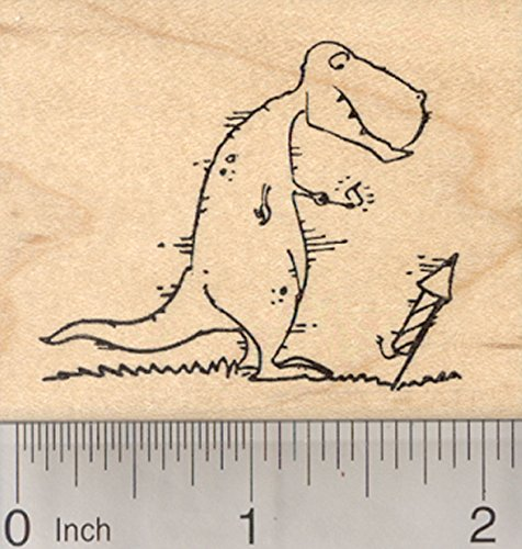 Tyrannosaurus Rex Dinosaur Rubber Stamp, with Fire Cracker, 4th of ()