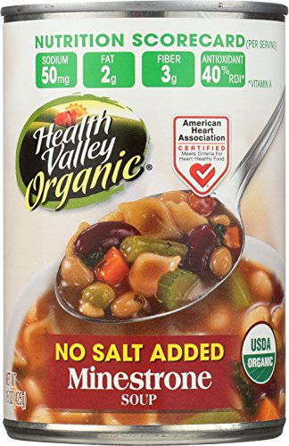 - Health Valley Organic No Salt Added Soup, Minestrone, 15 Ounce