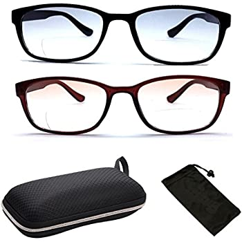 067fe58aeb02 Squared Bifocal Rectangular Shape Reading Glasses As Well With Light Tinted  Lenses Men Women + Hard Case + Pouch …(Black Brown