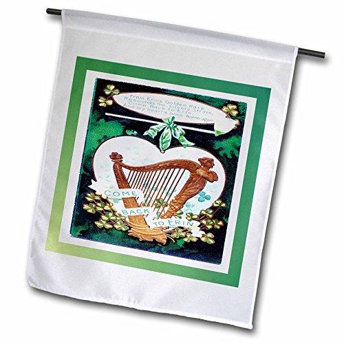 Florene Holiday Graphic - Irish Vintage Card With Harp - 18 x 27 inch Garden Flag (fl_37395_2)