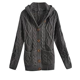 Creazy Warm Women Hooded Long Sleeve Cardigan Sweater Coat (Grey ...