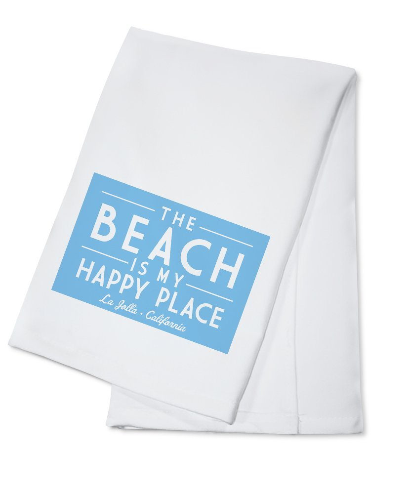 La Jolla, California - The Beach is My Happy Place - Simply Said (100% Cotton Kitchen Towel)