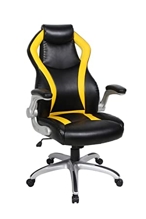 NKV Gaming Chair High Back Racing Ergonomic Computer Chair Video Game Chair Heavy Duty Adjustable Swivel Chair Bonded Leather Black Yellow