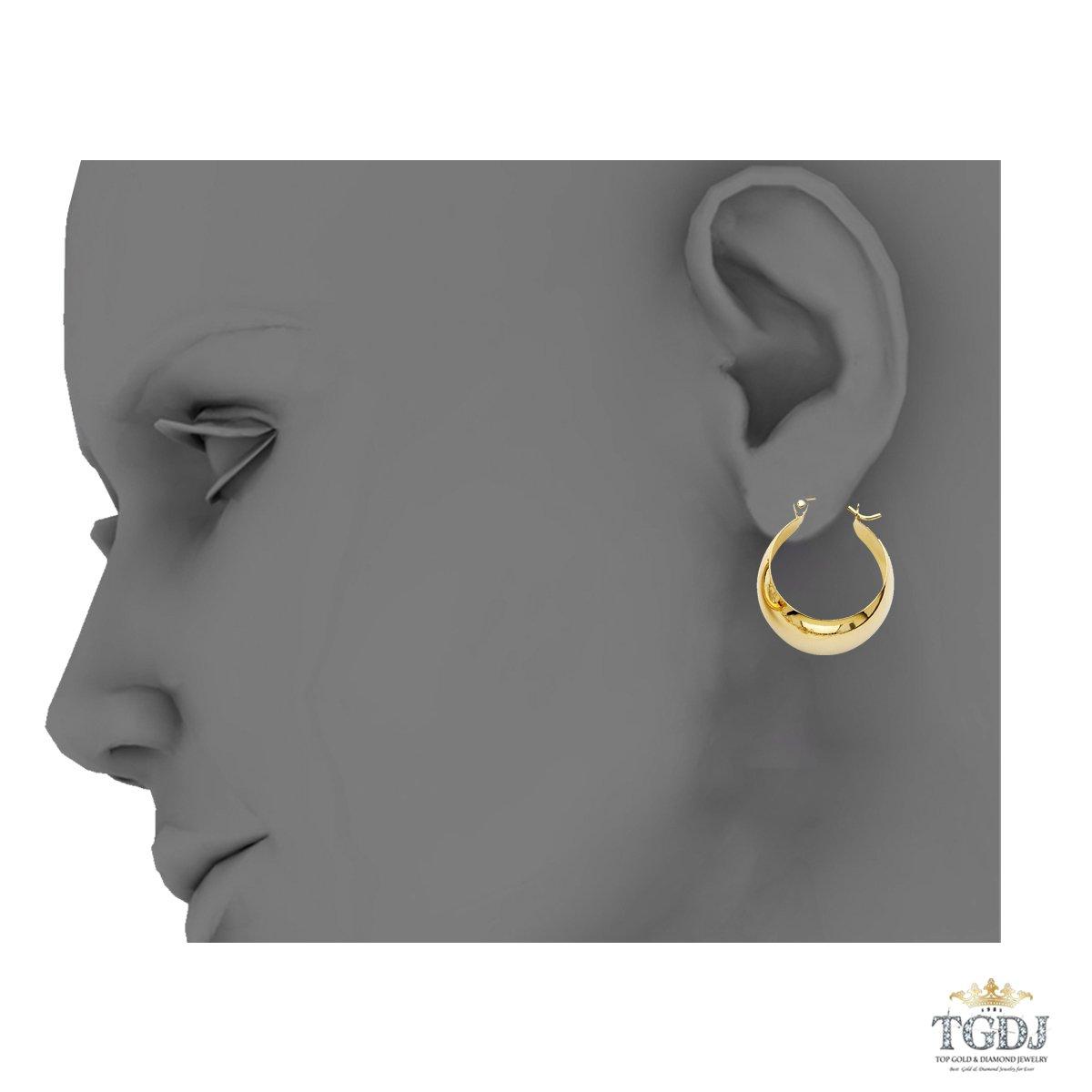 TGDJ 14K Yellow Gold Graduated Plain Hoop Earrings