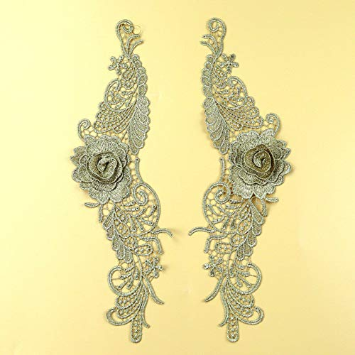 Vintage Gold Rope Metallic - Handmade Flower Embroidered Lace Trims Dress Appliques Sewing Craft DIY 1 Pair (Color - #4 + Gold)