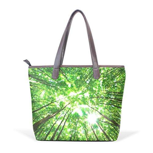 Muticolour Shoulder Grandi Tote Pu Maniglia Forest Green Cm 33x45x13 Coosun Bag Bags L Di Cuoio pxTA6EwY