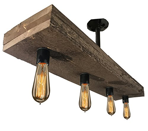 Rustic Reclaimed Wood Edison Bulb Industrial Chandelier Lights: Vintage Style Triple Wood Beam Antique Decor Chandelier