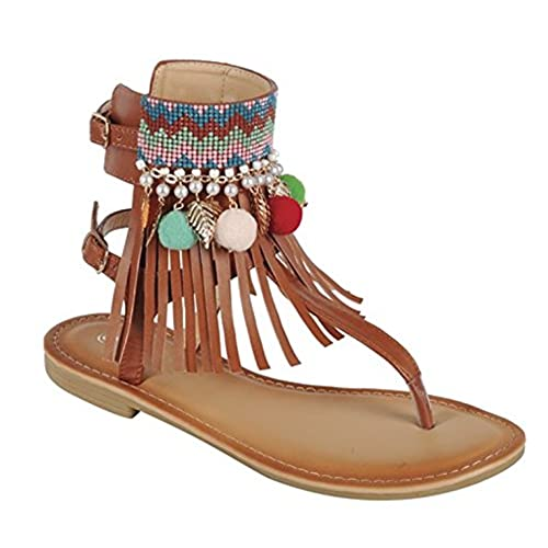 BDshoes Memphis Fringe Bohemian Jewel Ankle Strap Cuff Tstrap Thong Sandal For Women Ladies Teens Assorted Colors save more