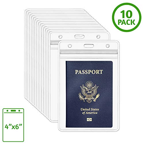 EcoEarth Passport Holder, Extra Large (XXL) Vertical ID Holder, Resealable and Waterproof Identification Card Holder (Clear, 4x6 Inch, 10 Pack) (Best Waterproof Passport Holder)