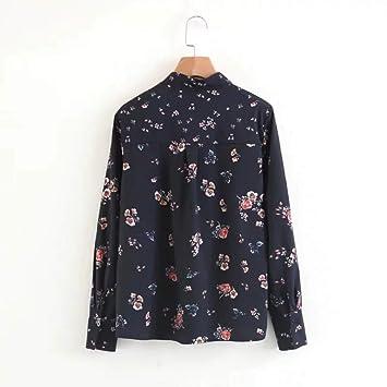 Cnsdy Camisas para Mujeres Perlas con Hombros Decoración Camisas de Manga Larga Blusa con Cuello Slim