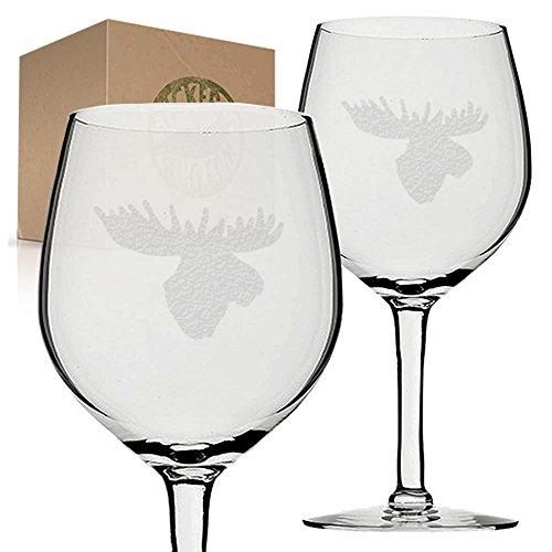 Stickerslug Engraved Moose Head Wine Glasses, 11 ounce, Set of - Moose Head Glasses