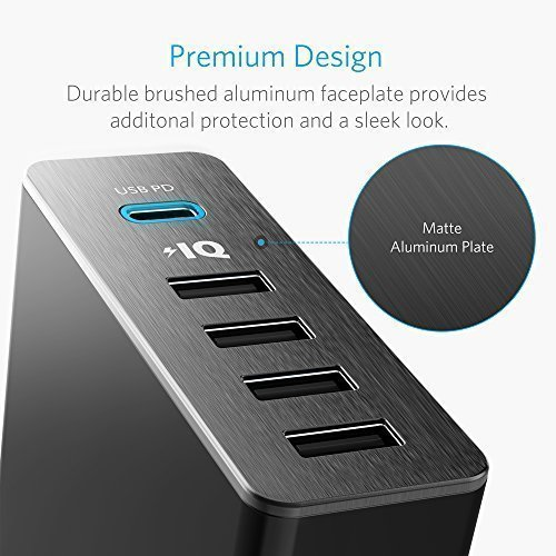 Anker USB Type-C PD Charger, Premium 5-Port 60W Wall Charger with One 30W Power Delivery PowerPort+ USB-C for MacBook, iPhone X /8/8 Plus, Nexus 5X / 6P, PowerIQ for iPhone, iPad, Samsung, and More by Anker (Image #6)