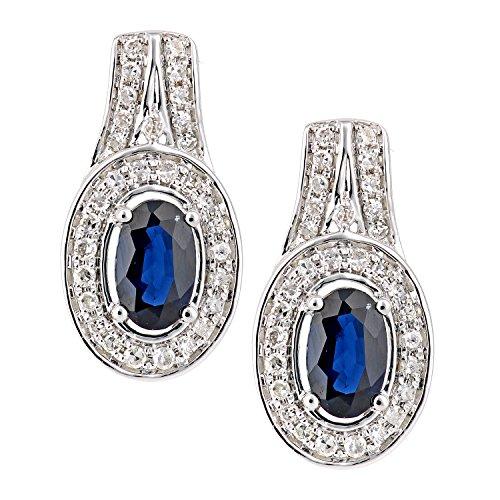 Revoni Bague en or blanc-18carats Saphir et Diamant Ovale-Boucles d'Oreilles Pendantes Femme -