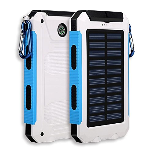 Solar Charger, Solar Power Bank 20000mAh External Backup Battery Pack Dual USB Solar Panel Charger with 2LED Light Carabiner Compass Portable for Emergency Outdoor Camping Travel (White)