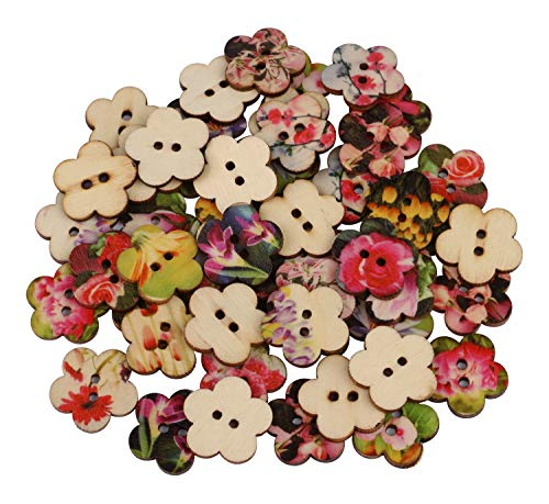 (Flower Shaped Buttons, Dedoot Vintage Wooden Flower Buttons 24mm 2 Hole Mix Random for Crafting Sewing Scrapbooking)