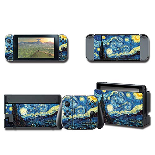 ght by Van Gogh Vinyl Cover Stickers Protector Wrap Full Set Faceplate for Nintendo Switch Console Joy-Con Dock ()