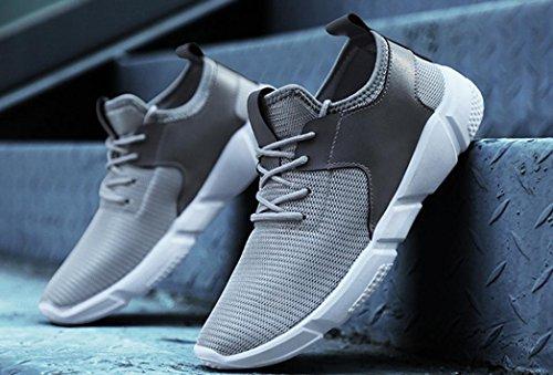Sky Zapatillas de Deporte de Color Sólido de Los Hombres Zapatos Para Correr Straps Sports Running Casual Sneakers Solid Shoes (41, Gris)