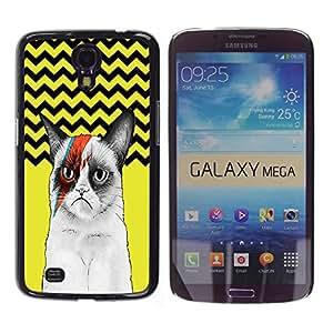 - Chevron Grumpy Cat - - Monedero pared Design Premium cuero del tir¨®n magn¨¦tico delgado del caso de la cubierta pata de ca FOR Samsung Galaxy Mega 6.3 i9200 i9208 Funny House